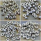 50Pcs Tibetan Silver Carved Patterned Rondelle Connector Space Charm Beads Craft