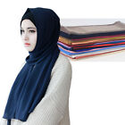 Women Plain Bubble Chiffon Solid Color Shawl Headband Hijab Muslim Turban Scarf