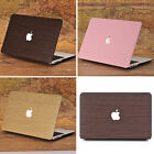 """Leather Coated Wooden Pattern Cut-Out Matte Case for MacBook Air 11"""" Pro 13"""" 15"""""""