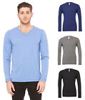 Mens Canvas Triblend Long Sleeve V Neck T-Shirt - Soft Triblend Fabric