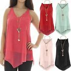 WOMENS PLAIN CHIFFON TIERED LAYER VEST LADIES LINED CAMI TOP BLOUSE SIZE 8-18