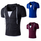 Fashion Men Beach Hooded Casual Hoodie Short Sleeve Cap Shirts Tops T-shirt 255q