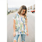 Summer Women Cactus Floral Printed Short Sleeve Irregular V-neck T-shirt Blouse