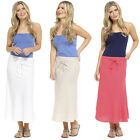 Womens Ladies Linen Skirt Full Length Long Summer Maxi Skirt Holiday Thin Light