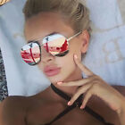 Womens Mens Split Aviator Sunglasses Retro Vintage Eyewears Mirror Oversized