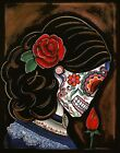 Silent Beauty by Melody Smith Day of the Dead Sugar Skull Woman Canvas Art Print