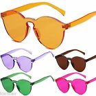 Unisex High Quality Transparent Colour Frame Rimless Retro Vintage Sunglasses