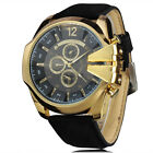 Luxury Ultra-big Mens Sport Watches Vinage Leather Band Casual Quartz Wristwatch