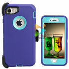 For Apple iPhone 7 / 7+ Plus Defender Case With Clip Screen Protector Purple