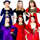 Medieval Girls Fancy Dress Childrens Tudor Book Character Costume Kids Outfits