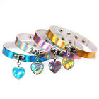 Holographic Choker Women Punk Laser Heart Pendant Collar Necklace Rivet Buckle