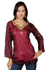 Burgundy long sleeves Kurti/Tunic with designer bead work