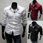 Mens Slim Fit Tee Tops Cotton Long Sleeve New Currents Blouse Casual T-Shirts