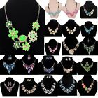 Jewelry Lady Chunky Statement Bib Chain Choker Pendant Necklace Earring Set