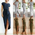 Us Women Ladies Summer Cocktail Party Long Maxi Belted Romper Dress Short Sleeve