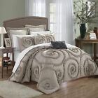 Rosalia Taupe Ruffled Applique 7 Piece Comforter Bed In A Bag Set