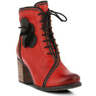 New L'Artiste CHRISANNE-RD Women's Red Leather Lace Up Boots