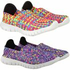 Womens Ladies Girls Trainers Woven Elasticated Stretch Gym Pumps Sport Shoes