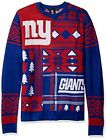 Klew NFL Men's New York Giants Patches Ugly Crew Neck Sweater, Red/Blue