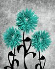 Turquoise Gray Modern Flowers Bathroom Bedroom Home Decor Wall Art Picture