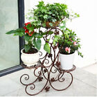 2 Colors Choose Iron Leaf Style Pergola Stand Shelf Flower Rack Holder 3 Pots