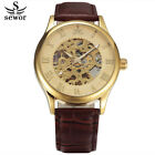 Hollow Out Design Luxury Dress Men Skeleton Mechanical Watch Vinage Leather Band