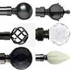 28mm Metal Curtain Poles Black Nickel 120 to 360cm + Bay Window 6 Finial Options