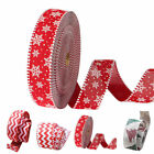 10.94 Yards Red Wavy Stripe Snowflake Christmas Ribbons Band Bowknot XMAS Decor