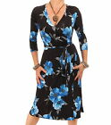 New Blue Floral Wrap Dress - Knee Length