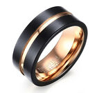 Black Tungsten Carbide Rose Gold Plated Men's 8MM Wedding Band Ring M10