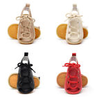 Baby Toddler Girl Lace Up Sandals Faux Leather Crib Prewalker Summer Shoes 0-24M