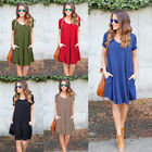 Women Summer Short Sleeve Pocket Loose Evening Party Cocktail Casual Mini Dress