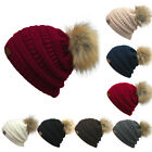 Women Winter Warm Ski Oversized Knit Knitted Fur Pom Pom Beanie Cap Hat NE
