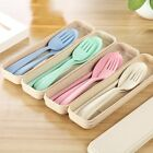 Portable Reusable Spoon Fork Travel Chopsticks Wheat Straw Tableware Cutlery Set