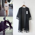 Women Chiffon Kimono Cardigan Long Loose Blouse TASSEL Beach Cover Coats Tops