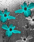 Teal Bathroom Floral Raidrops Home Decor Wall Art Matted Picture