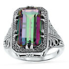 5 Ct HYDRO MYSTIC QUARTZ ANTIQUE DECO STYLE .925 SILVER FILIGREE RING,       #41