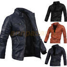 Black Men's Genuine Leather Jacket fashion fit Biker Motorcycle jacket Red