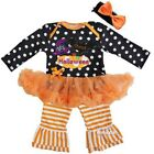 Baby Black Orange Polka Dots My First Halloween Bodysuit Tutu Dress Pants Outfit