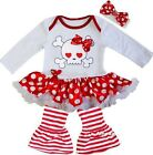 Baby Valentine's Day Pirate Skull Bodysuit Tutu Dress Legging Pants Outfit