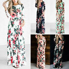 US Women BOHO Floral Print Beach Dress Lady Evening Party Long Sleeve Maxi Dress