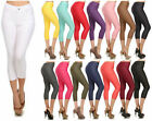 Women's Basic Solid Cotton Blend Capri Jeggings Soft Skinny Stretch Pants