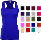 Women's Basic Solid Ribbed Racerback Tank Top Long Stretchy