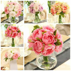 10 Heads Peony Flowers Home Party Wedding Bouquet Decoration Flowers US Stock