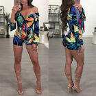 Women Off-shoulder Jumpsuit Romper Casual Long Sleeve Bodycon Catsuit Shorts