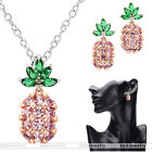 Women Copper&Cubic Zirconia Pineapple Fruit Pendant Necklace Earrings Jewlery