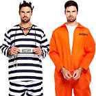 Prisoners Mens Fancy Dress Convict Inmate Robber Uniform Adults Costume Outfits