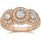 1 1/2 Ct Vintage Diamond 3 Stone Halo Engagement Ring Round Cut 14K Rose Gold
