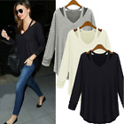 SALE Sexy Ladies Off Shoulder Long Sleeve Loose Casual Blouse Tee Pullover