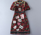 Occident autumn fashion gold embroidery Modern Vintage temperament  dress SMLXL